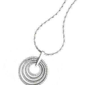 Multi circle diamond pendant on white gold necklace.