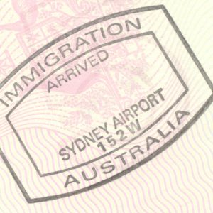 Stamped Immigration Arrived in Sydney with no date stamped