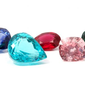 Natural Colored Gemstones on a white background