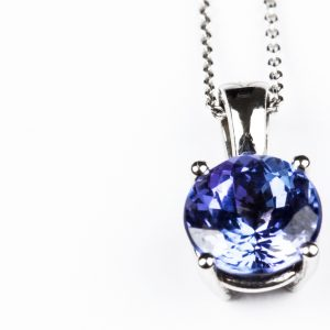 Tanzanite necklace on white backgound.