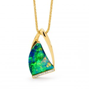 Australian Black Opal Pendant in 18K Yellow Gold with Diamonds_28611_Opal Minded
