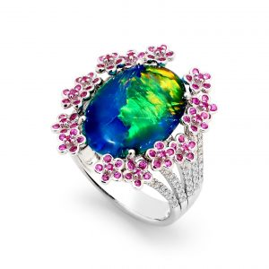 Australian Black Opal Ring in 18K White Gold with Diamonds and Sapphires_28898_Opal Minded