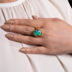 Bespoke Australian Black Opal Ring in 18K Yellow Gold with Diamonds and Large Blue and Red Opal_14920_Opal Minded